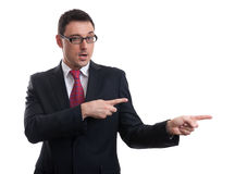Business man pointing his finger Stock Photos