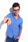 Business man pointing his finger at you Stock Images