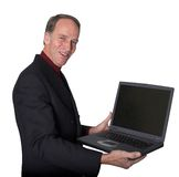 Business man pointing at his laptop Stock Photography