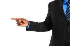 Business Man Pointing Into Copyspace Royalty Free Stock Photos
