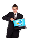 Business man pointing at a laptop with airplane Royalty Free Stock Image