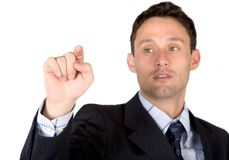 Business man pointing at the screen Royalty Free Stock Image