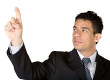 Business man pointing at screen Stock Photo