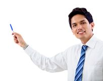 Business man pointing at something Stock Photo