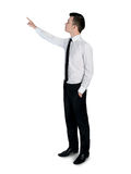 Business man pointing something. Isolated business man pointing something Stock Photo