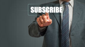 Business Man Pointing Subscribe Stock Photo