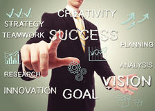 Business man pointing SUCCESS Stock Photography