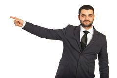 Business man pointing to copy Royalty Free Stock Photography