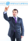 Business man pointing to internet graph Royalty Free Stock Photos