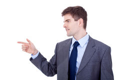 Business man pointing to side Royalty Free Stock Images
