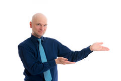 Business man is pointing to the side Royalty Free Stock Photo