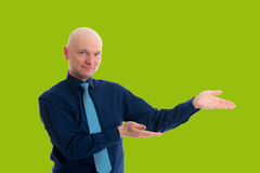 Business man is pointing to the side Royalty Free Stock Images