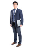 Business man pointing to white background Stock Images