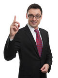 Business man pointing up finger Stock Photos