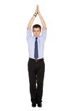 Business man pointing up with his hands Stock Image