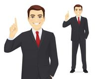 Business man pointing up. Smiling business man pointing up isolated vector illustration Stock Image