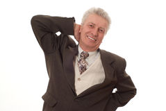 Business man pointing upwards Stock Image