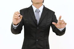 Business man pointing for work  isolate Royalty Free Stock Images