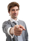 Business man pointing at you Stock Images