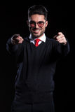 Business man points at you with both hands Royalty Free Stock Photography