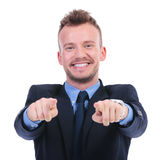Business man points at you with both hands Stock Photo