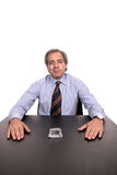 Business man portrait on a desk Stock Images