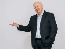 Business man portrait pointing finger isolated Stock Photos