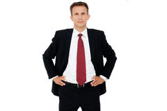 Business man posing against white Stock Image