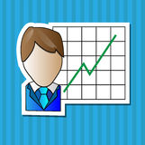 Business man with positive graph Royalty Free Stock Images