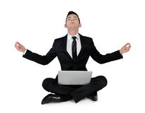 Business man pray with laptop Stock Photo