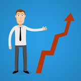 Business man present a growth chart. Stock Photos