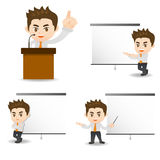 Business man present in meeting. Cartoon illustration set of Success Business man present in meeting Stock Image