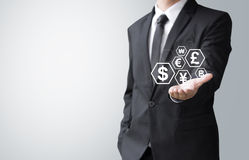 Business man present money sign Stock Photo