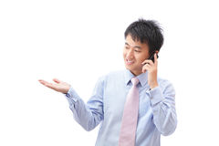 Business man presentation and speaking phone Royalty Free Stock Photos