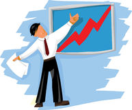 Business man presenting. A good idea, near the doard with success diagram vector illustration
