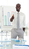 Business man presenting and being positive Royalty Free Stock Images
