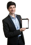Business man presenting digital tablet with blank screen Stock Photos