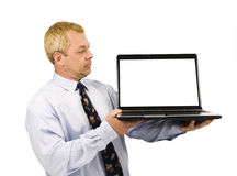 Business man presenting on laptop Stock Photography