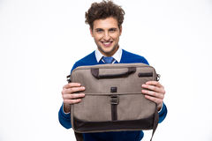 Business man presenting laptop bag Royalty Free Stock Photo