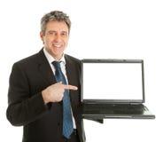 Business man presenting laptopn Stock Photos