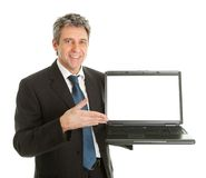 Business man presenting laptopn Stock Photography