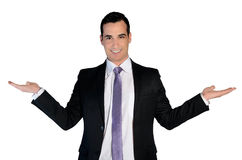 Business man presenting something. Isolated business man presenting something Royalty Free Stock Photography
