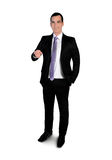 Business man presenting something. Isolated business man presenting something Royalty Free Stock Photo