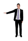 Business man presenting something. Isolated business man presenting something Royalty Free Stock Images