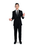 Business man presenting something. Isolated business man presenting something Royalty Free Stock Photos