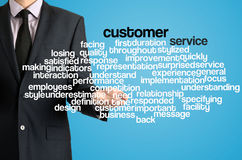 Business man presenting wordcloud related to customer service. Business man presenting wordcloud related black text by his hand stock photography