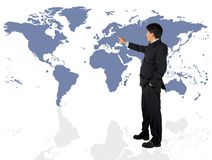 Business man presenting a world map Stock Image