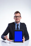 Business man presents his tablet Royalty Free Stock Photos