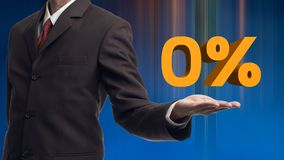 Business man presents word zero percent with his own hands. Indicating zero interest and other financial percentage stock photos