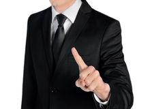 Business man press something Royalty Free Stock Image
